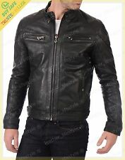 Men Lambskin Leather Jacket Genuine Real Fit Biker Motorcycle Fast shipping MC04