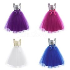 Fashion Girl Dress Kids Baby Sequin Tulle Party Wedding Princess Bow Dress 12M-8
