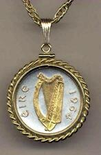 "Handmade Irish Half Penny Silver & Gold Plated ""Harp""  18"" or 24"" Coin Necklace"
