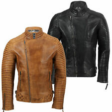 Mens Real Leather Biker Jacket Retro New Moto Cafe Style in Vintage Tan, Black