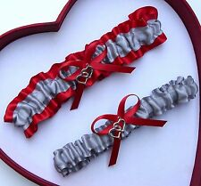 NEW Gorgeous Silver Red Wedding Garter Prom Homecoming GetTheGoodStuff