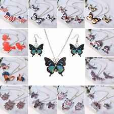 Fashion Resin Printing Butterfly Animal Pendant Necklace Earrings Jewelry Set