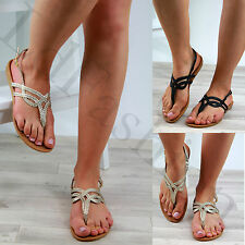 New Womens Toe Post Plaited Sandals Ankle Strap Summer Beach Flat Shoes Sizes