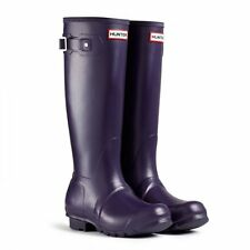 Hunter ORIGINAL Womens Ladies Tall Rubber Wellies Wellington Boots Aubergine