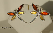 Delicate Baltic Amber Studs Earrings Dragonfly on Silver 925