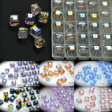 SALE #5601 Swarovski Crystal 8mm Cube Square Beads AB coating assorted colors