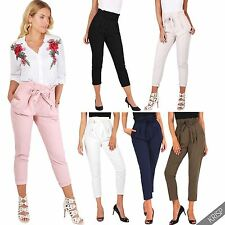 Womens High Waisted Pleated Ruffle Pencil Cigarette Peg Trousers Work Pants