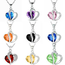 Heart Silver Plated Charm Crystal Necklace Jewellery Pendant Chain Love Gift