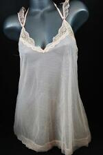 VICTORIAS SECRET Pink Bling Lace Ruffle Babydoll Tulle Bow Sheer L NWT $148