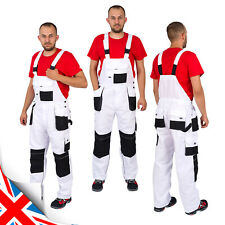 Work Trousers Men Bib and Brace Overalls Painters Knee Pad Decorators White L&HN