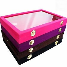 Color Velvet Glass Top Lid Jewelry Display Presentation Showcase Storage Box
