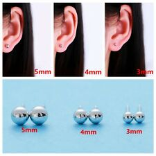 Round Ball Earrings Lady Silver Plated Bead Ear Studs Bride Wedding Jewelry New