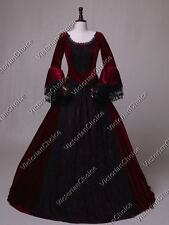 Victorian Gothic Velvet Marie Antoinet Lace Dress Ball Gown Theater WINE 153