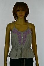 Aeropostale Womens Juniors Gray Synch Waist Tank Lace Trim Purple Embroidery New