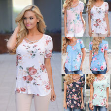 Womens Summer Boho Floral T-Shirt Tops Shirts Loose Casual Blouse Cross Collar