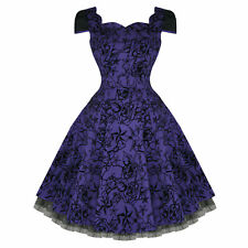 Hearts and Roses London Purple Tattoo Flare 50s Vintage Party Prom Swing Dress U