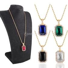 New Gold Plated Mens Iced Out Ruby Octagon Hip Hop Pendant Necklace 3mm 24inch