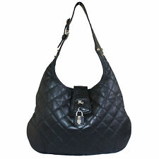 BURBERRY BROOK BLACK QUILTED LEATHER HOBO BAG