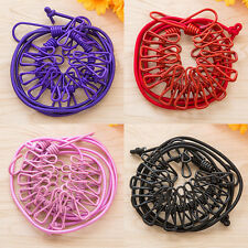Super Elastic Outdoor Portable Windproof Rubber 12 Clips Dry Rope Clothes Lines