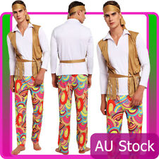 Mens Hippie 60s 70s Hippy Retro Groovy Costume Halloween 1960s 1970s 70's Outfit