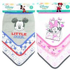 Disney Baby MICKEY MOUSE / MINNIE MOUSE Bandana Bibs 3 Pack Set Dribble Teething