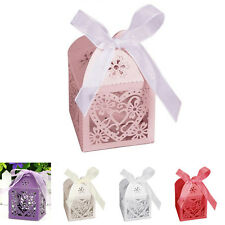 Wedding Party Decor Love Heart Candy Boxes Favor Ribbon Gift Box 10/50/100Pcs