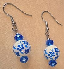 Blue & White Flower Ceramic & Glass Bead Earring Set