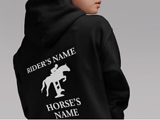 HORSE RIDING HOODIE PERSONALISED HOODIE KIDS SHOW JUMPING CUSTOM EQUESTRIAN GIFT