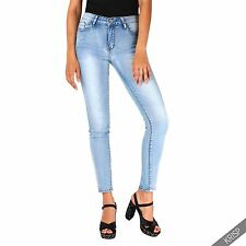 Womens Ladies High Waisted Light Stretch Denim Slim Skinny Jeans Pants Jeggings