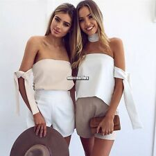 Women Sexy Elegant Strapless Off Shoulder Asymmetrical Blouse Top ONMF01