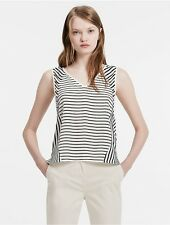 calvin klein womens stripe silk top shirt