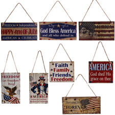 Vintage Wooden Hanging Plaque American 4th of July USA Patriotic Sign Home Decor