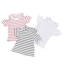 Toddler Baby Girl Kids Cotton Striped T-shirt Top Off-Shoulder Summer Blouse