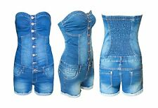 Ladies Stretch Boobtube Denim Playsuit All In One Womens Dress Short Skirt Jeans