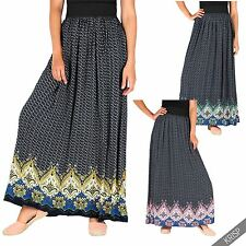 Womens Ladies Vintage Gypsy Boho Elastic Waist Long Summer Maxi Skirt Sun Dress