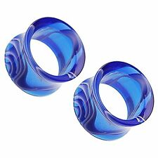 """Blue Marble Swirl Acrylic Double Flared Tunnel Plugs 10G - 1"""" - Pair"""