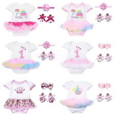 3Pc Newborn Baby Girl Princess Tutu Skirt Romper 1st Birthday Clothes Outfit Set