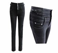 Ladies Skinny Denim Bow High Waisted Slim Fit Womens Jeans Black Trouser Buttons