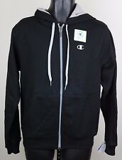 Champion Mens Eco Fleece Black Gray Zipper / Logo Zip Up Hoodie Sweatshirt NWT