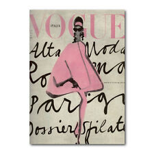 Vintage Vogue Pink Print Poster - Vogue Italia Lady in Pink Italy Print (pcint)