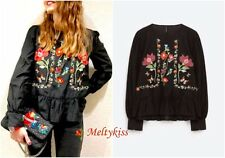 NWT ZARA WOMEN'S BLACK FLORAL MULBERRY SILK EMBROIDERED BLOUSE Sz-S, BLOGGERS!