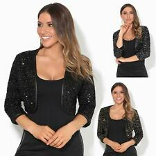 Womens Sequin Shrug Bolero Cropped Top Open Cardigan Jacket Party Wedding Prom