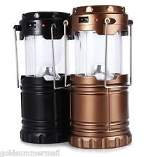 6 LED Hand Lamp Collapsible Solar Camping Lantern Tent Lights for Hiking