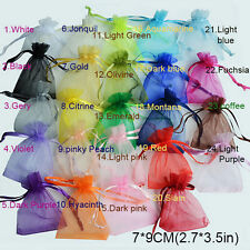 Pop 50Pcs/Kit 7x9cm 24 Colors Jewelry Holder Organza Bags Wedding Gift Pouches