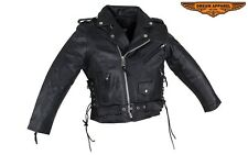 LEATHER MOTORCYCLE JACKET TEENS,SMALL ADULTS, TWEENS, AND KIDS #SALE KD344T