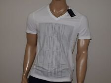 Armani Exchange Authentic Dotted Diffusion Logo V neck T Shirt White NWT