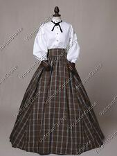 Victorian Dickens Country Plaid Civil War Dress Gown Reenactment Clothing 314