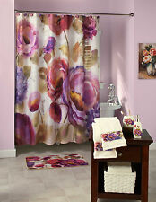 Watercolor Floral Bathroom Shower Curtain Hooks Valance With or Without Accessor