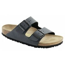 Birkenstock ARIZONA Mens Twin Buckle Softbed Faux Nubuck Summer Sandals Basalt