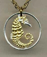 Singapore 10 Cent Silver & 24k Gold Plated (cut Seahorse) Coin Necklace 3 Styles